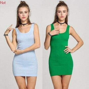 Hot Women Mini Dress 2017 Summer Sexy Slim Bodycon Dresses Elastic Skinny Tank Dress Brief O Neck T-Shirt Dresses Vestidos 20198 fashion nova bathing suits