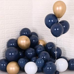 """Image 5 - Metable 104 12 polegadas azul marinho, branco fosco e lantejoulas de ouro, balões dourados, para """"festa de balão pequeno príncipe"""", """"festa da marinha"""""""