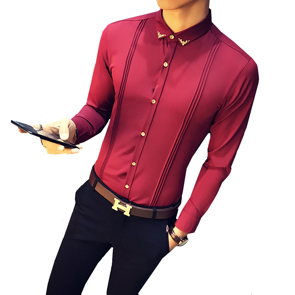MEN PLAIN SHIRT FORMAL WEDDING BUSINESS DOUBLE-CUFF L//SLEEVE COTTON CORAL RED