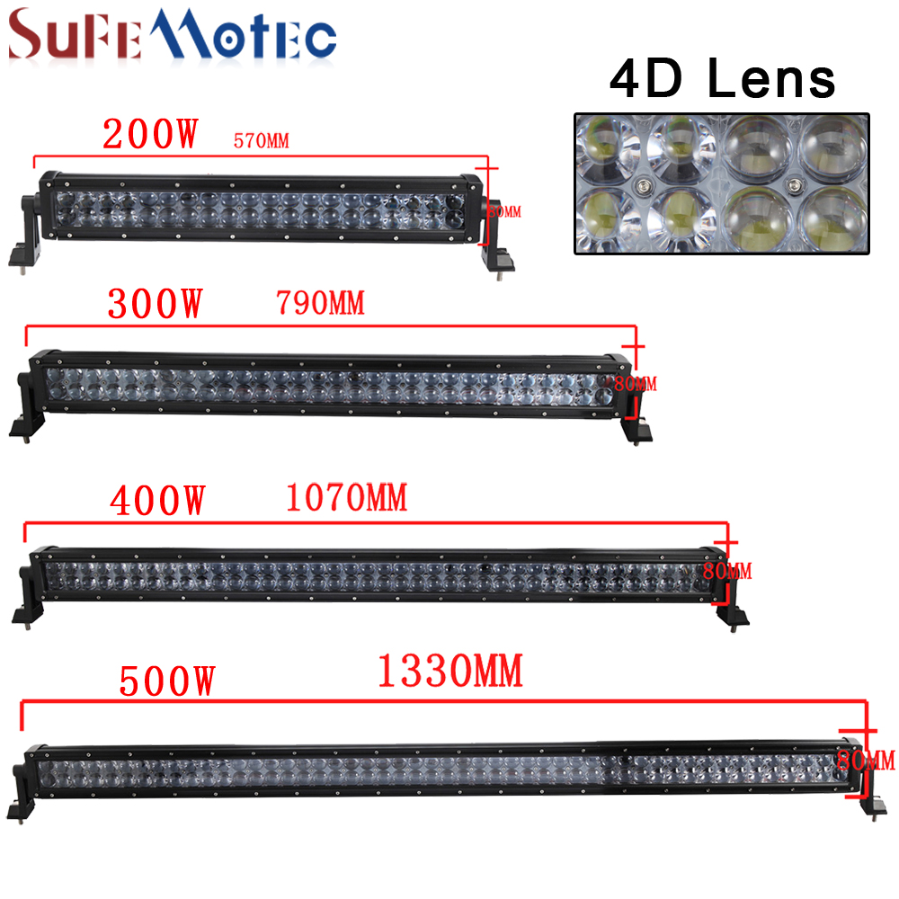 SufeMotec 4D 22 Inch 200W 42 Inch 400W 52 Inch 500W Straight LED Light Work Bar Combo Beam For Off Road SUV ATV 4WD Boat Led Bar sufemotec 5d 14 22 32 42 52 500w led light bar straight combo beam driving lamps for off road truck 4x4 4wd suv atv