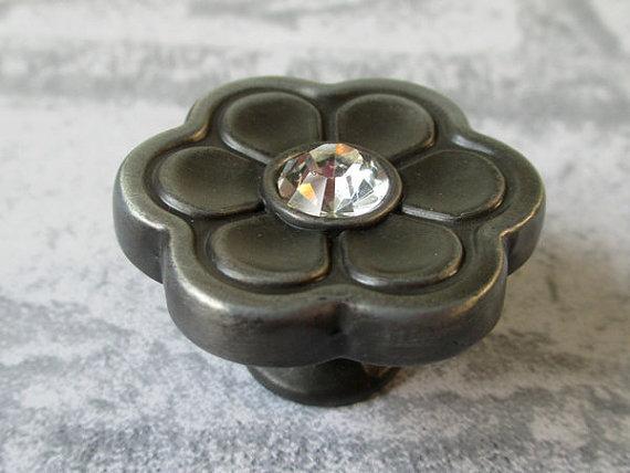 Flower Dresser Drawer Knobs Pulls Handles Crystal
