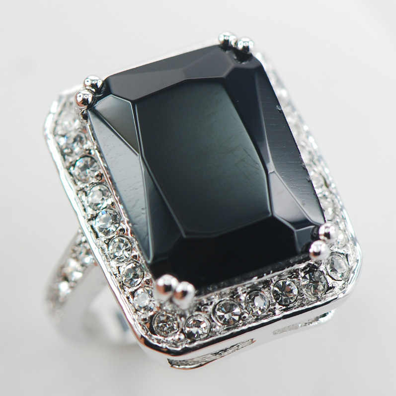 สีดำนิลแฟชั่นผู้หญิง925แหวนเงินF893ขนาด6 7 8 9 10