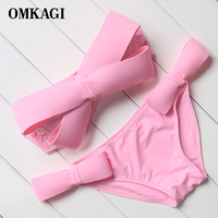 Hot Sale Solid Swimwear Women Bandage Bikini 2016 Sexy Big Bow Swimsuit Bathing Suit Push Up