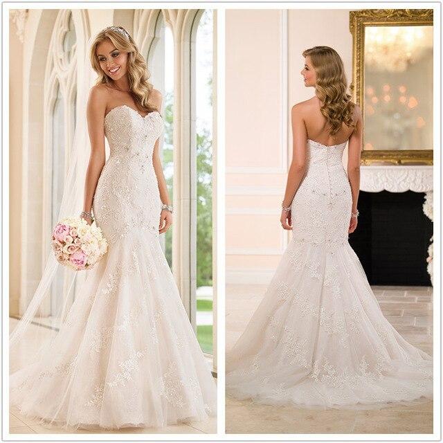 V pescoço rendas de luxo sereia vestidos de casamento elegância das mulheres sem mangas do vestido de casamento