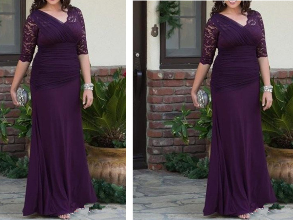 Elegant Purple Chiffon Mermaid Mother of the Bride Dresses 2019 farsali V Neck Half Sleeve with Lace Mother of the Groom Dress