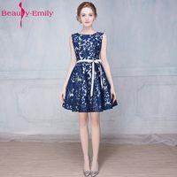 Belleza Emily 2017 Nuevo encargo colorido Vestidos de noche apliques Fajas cremallera/Encaje up party prom vestido de novia