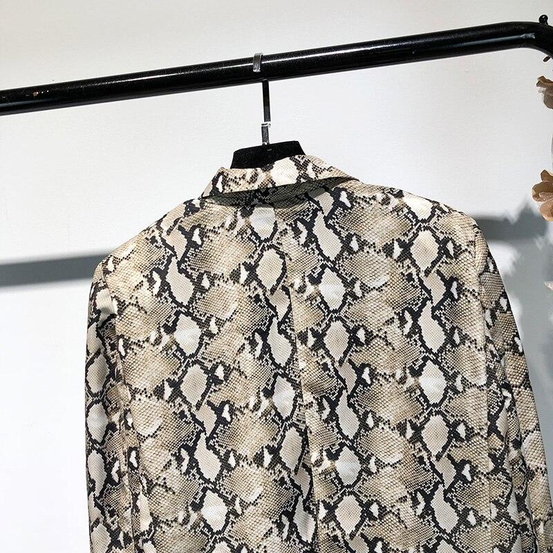 2018 herbst Mode Streetwear Schlange muster Blazer Frauen Mantel Oberbekleidung Büro Dame Blazer Y-1236