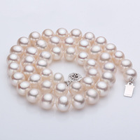 925 silver real natural big Kano Cindy [simple happiness] 9 10mm nearly round pearl necklace, send mom clavicle chain Brief