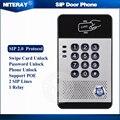 SIP Intercomunicador Do Telefone Da Porta com Controle de Acesso Porta à prova d' água Função de Campainha