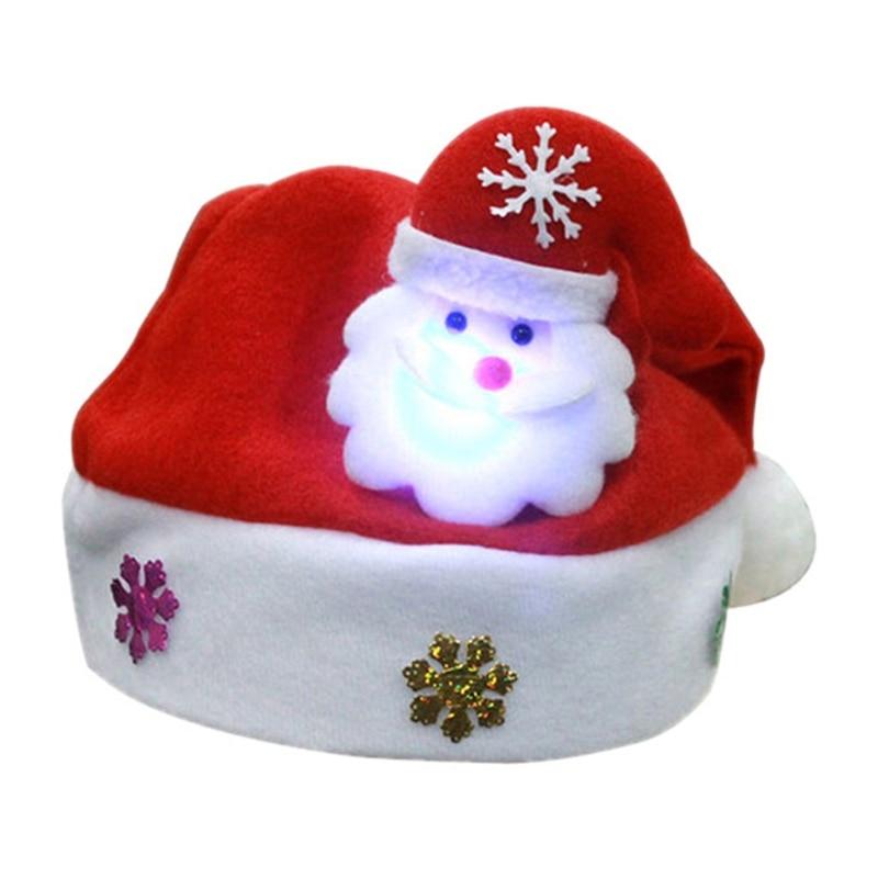 1Pc Adult Children LED Christmas Hat Santa Claus Reindeer Snowman Cap Party Gift