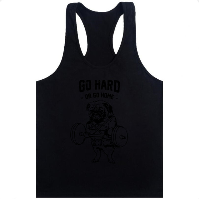 Go Hard or Go Home Men tank tops Frenchie printed men Vest Pug Squat fashion male singlets Do You Even Lift tank tops