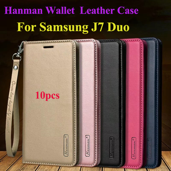 10pcs Hanman Flip Leather Case for Samsung J7 Duo 2018 Business Hang Rope Series Genuine Wallet Card Slot Case Cover