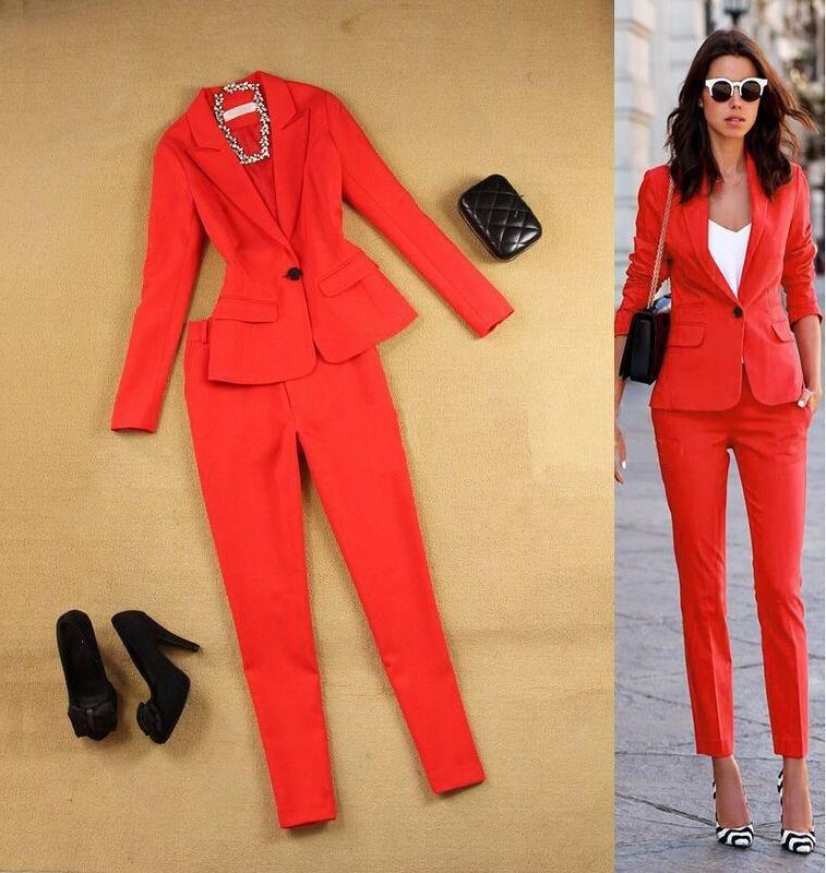 2019 Women's Office Lady Two-Piece Pants Set Female Career Suit Jacket And Long Temperament Casual Pants Set