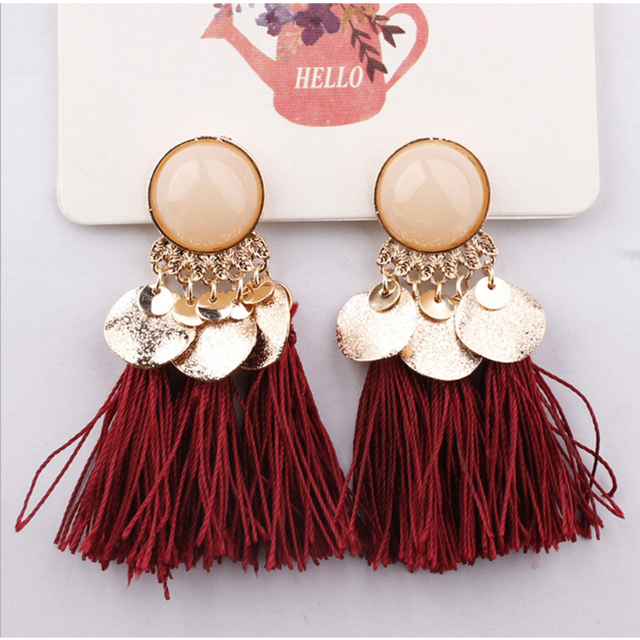 Ethnic Bohemia Women Dangle Drop Earrings Summer Round Resin Tassel for Women Fashion Jewelry 1