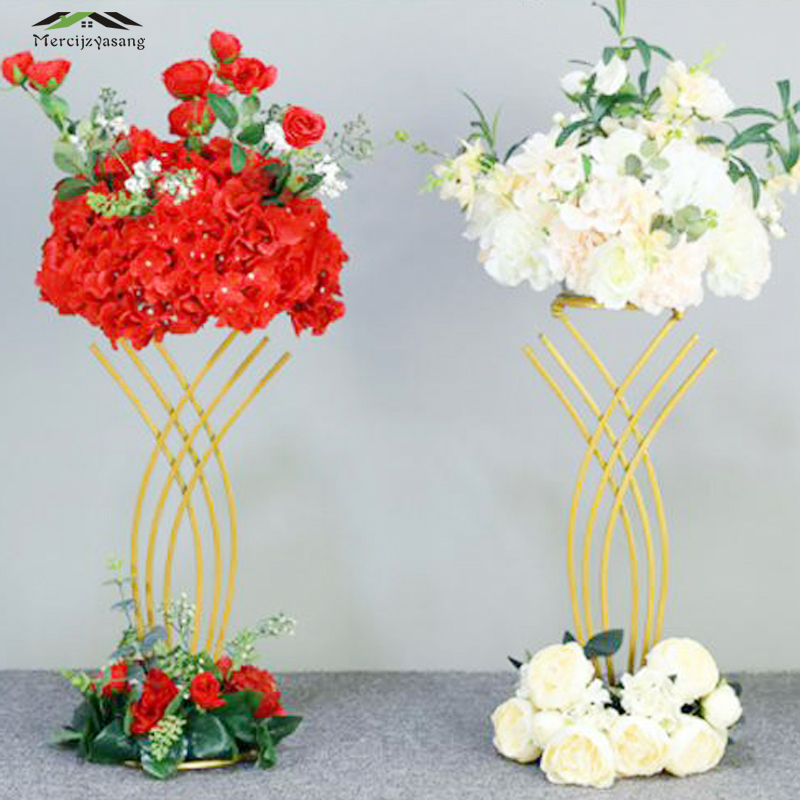 4Pcs/Lot Flower Vases Floor Metal Vase Plant Dried Floral Holder Flower Pot Road Lead for Home/Wedding Corridor Decoration G112