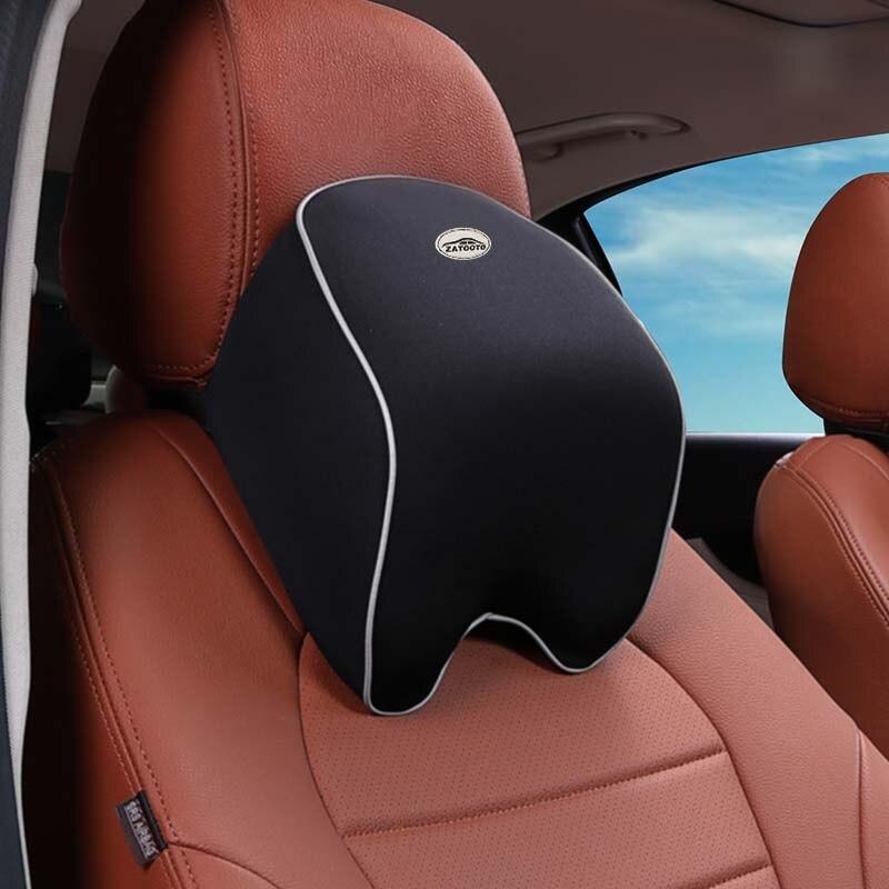 Amerryllis Universal Solid Bone Shape Headrest Pillow Breathable PU Leather Cloth Car Head Neck Rest Cushion Auto Interior Accessories