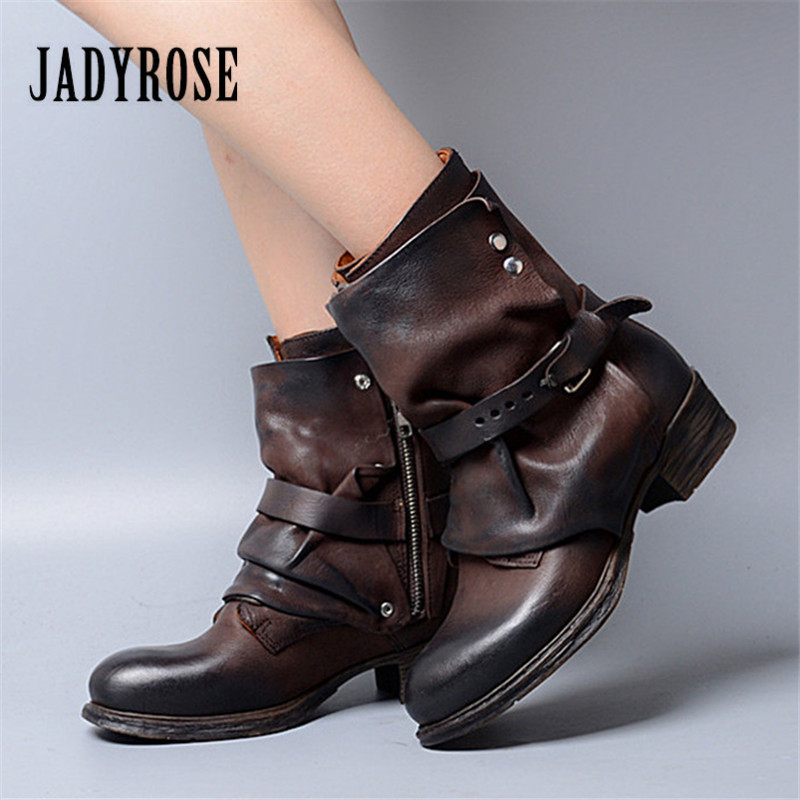 Jady Rose Fashion Brown Women Ankle Boots Autumn Winter Flat Boots Genuine Leather Martin Botas Mujer Strap Platform Shoes Woman 2017 new autumn winter shoes for women ankle boots genuine leather boots women martin boots lace up platform combat boots botas