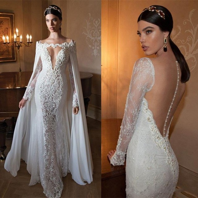 Imported china wedding dresses with cape long sleeve 2016 berta imported china wedding dresses with cape long sleeve 2016 berta bridal gowns lace backless mermaid wedding junglespirit Image collections