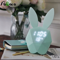 Bunny Rabbit Digital LED Alarm Clock Night Light Voice Control Time Temperature Display Magnetic Rechargeable Clock Wall Lamp