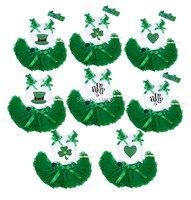 St Patrick S Day Clover Bling Hat Heart Top Green Newborn Baby Skirt Set 3 12M