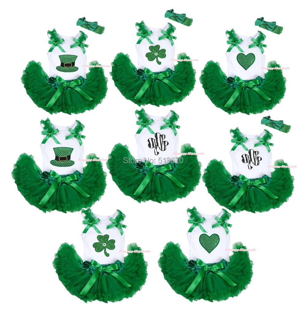 St Patrick's Day Clover Bling Hat Heart Top Green Newborn Baby Skirt Set 3-12M MAPSA0381 цена и фото
