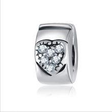 Bijoux, clip de cristal, tope con forma de corazón, cuentas, encantos, plata de ley, Pulsera original, joyería de Día de San Valentín, abalorio CLP053 1 unidad