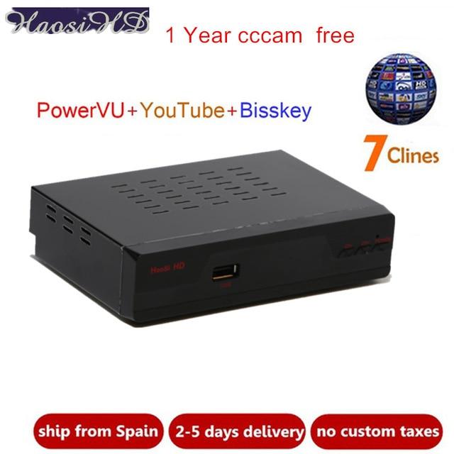 HAOSIHD decodificador tv satelital gratis Free cccam cline for 1 year spain europe poland italy De pk v7 v8 V9 ccam tv receivers