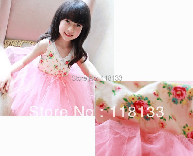 Wholesale -hot selling new girl's Floral Cotton  layer yarn super beautiful princess vest dress children's clothes Y AUG3