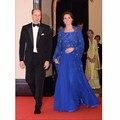 Kate Middleton Vestidos Appliqued Beading Muçulmano Kaftan Azul Royal Vestido de Noite Com Envoltório 2016 Vestido Longo Celebridade