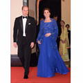 Kate Middleton Vestidos Appliqued Rebordear Musulmán Caftán Azul Real Vestido de Noche Con Una Envoltura 2016 Vestido Largo Celebrity