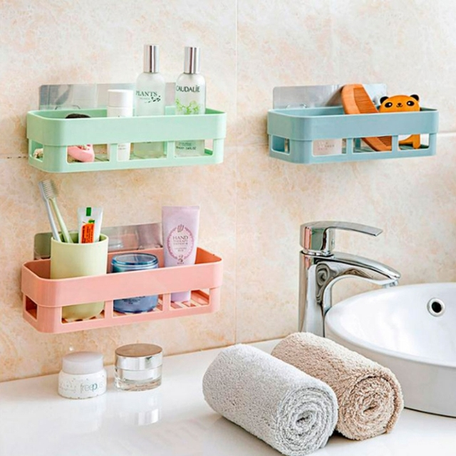 Kitchen Bathroom Sticky Storage Shelf Organizer Corner Hanging Rack Basket Bath  Storage Tools Sink Holder Kitchen