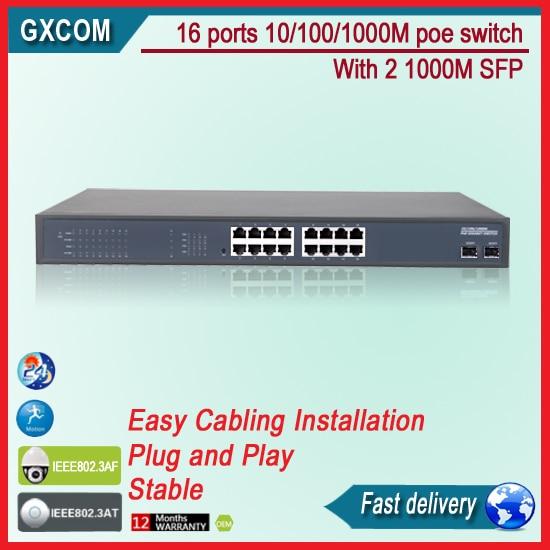 16 10/100 / 1000M Port POE Switch Dengan 2 Port Gigabit
