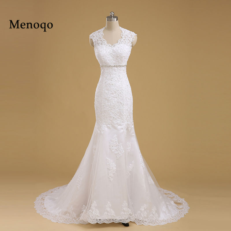 Menoqo High Quality New Fashion Lace Mermaid Wedding Dresses Real Pictures Long train Bridal Gown Custom Size