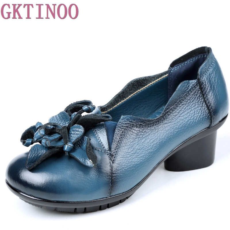 2018 Retro Style Handmade Shoes Women Thick With Heels Pumps Round Toe High Heels Genuine Leather yaerni 2017 retro style women shoes flats platform handmade flower genuine leather thick heels round toe women causal shoes