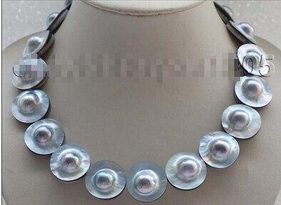 Блеск 17 Природный 22 мм синий Mabe жемчужное ожерелье 925 серебра застежка # f1719! Оптовая продажа с фабрики Цена Для женщин giftword ювелирные издели
