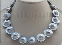 Luster 17 Natural 22mm Blue Mabe Pearl Necklace 925silver Clasp #f1719! Factory Wholesale Price Women Giftword Jewelry