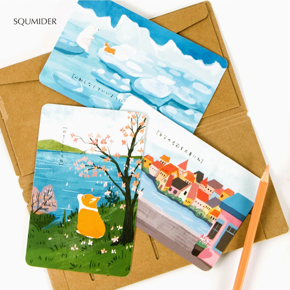 SQUMIDER 30 Sheets/LOT Cute Creative Cartoon Corgi Postcard/Wish Card/Greeting Card/ Teacher's Day/Christmas And New Year Gifts