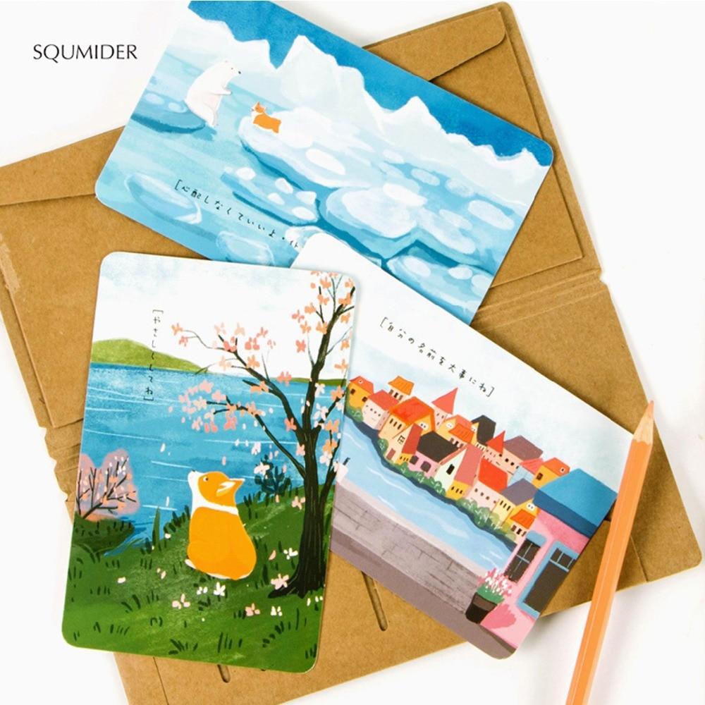 Squmider 30 Sheets/lot Cute Creative Cartoon Corgi Postcard/wish Card/greeting Card/ Teachers Day/christmas And New Year Gifts Office & School Supplies