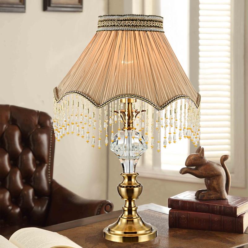 Antique Crystal Table Lamps Rust Wrought Metal Desk Lights Hardware Lighting Vintage Nostalgic Lustre