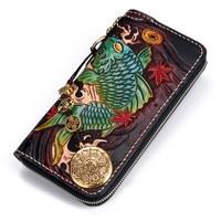 Men Genuine Leather Wallets Carving Copper Lotus Coin Carp Zipper Bag Purses Women Long Clutch Vegetable Tanned Leather Wallet