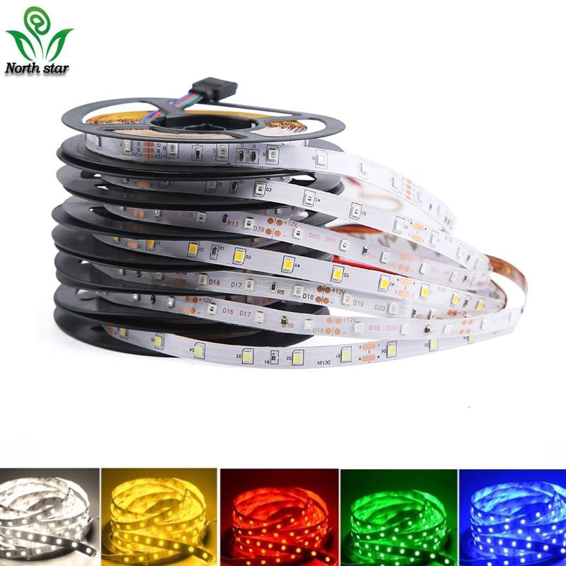 Светодиодная лента RGB, 5 метров, 300 светодиодов, не водонепроницаемый, светильник 2835, 12 в пост. Тока, 60 светодиодов/м, гибкий светильник, лента, ...
