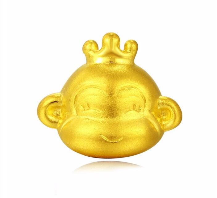 New Pure 999 24k Yellow Gold pendant/ 3D Bless Lucky Zodiac Monkey Pendant цены
