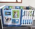 Promoção! 7 pcs bordado Baby Boy jogo do fundamento do bebê Kit cama Boy Crib set, Incluem ( bumpers + tampa + cama edredão + cama saia )