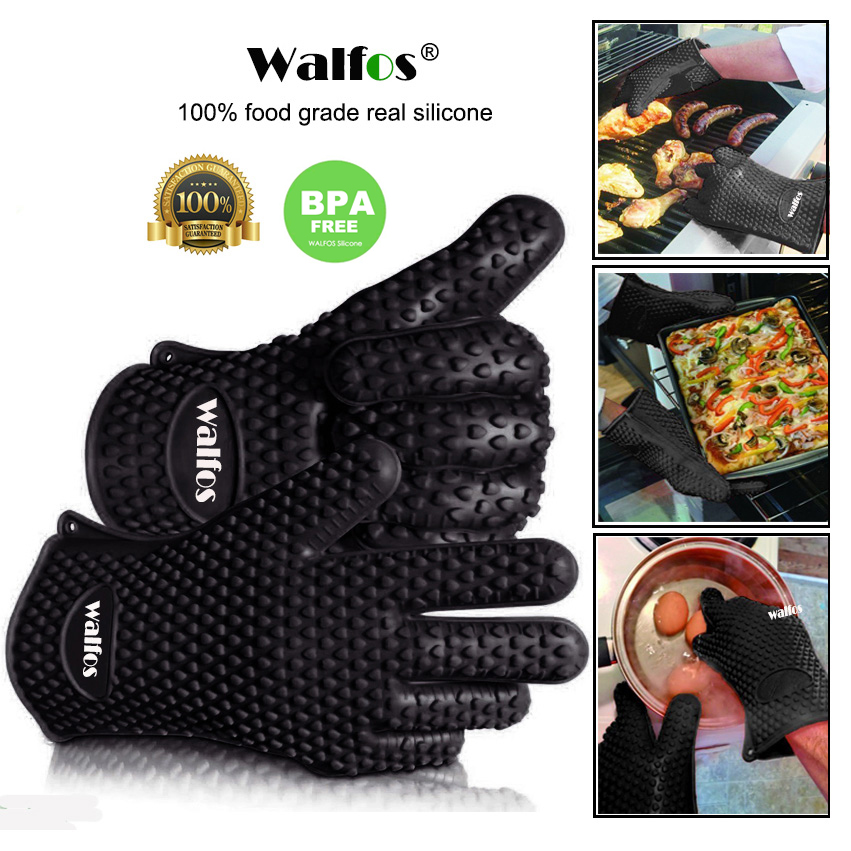 WALFOS 1 piece food grade Heat Resistant Silicone Kitchen barbecue oven glove Cooking BBQ Grill Glove Oven Mitt Baking glove salmon