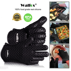 Image 1 - WALFOS 1 piece food grade Heat Resistant Silicone Kitchen barbecue oven glove Cooking BBQ Grill Glove Oven Mitt Baking glove