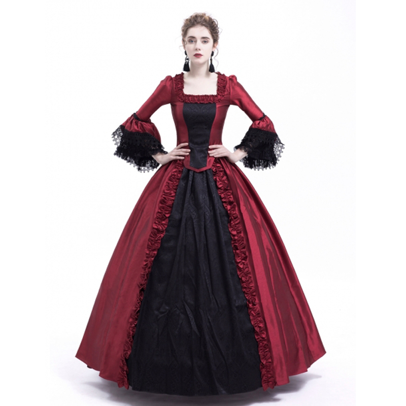 Free shipp Hot Sale Victorian Rococo Costume Women's Adults' Dress Purple Vintage Cosplay Flocked Long Sleeves Bell Ankle
