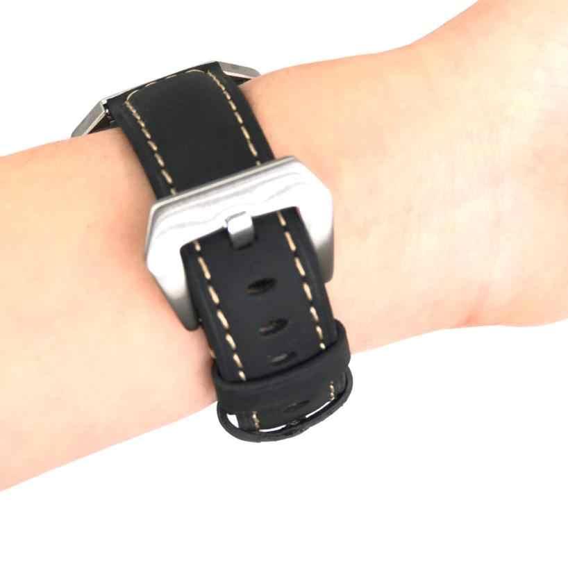Harga Terbaik! Mewah Genuine Leather Watch Band Wrist Strap + Logam Frame untuk Fitbit Blaze DROP Shipping Kualitas 2apr27