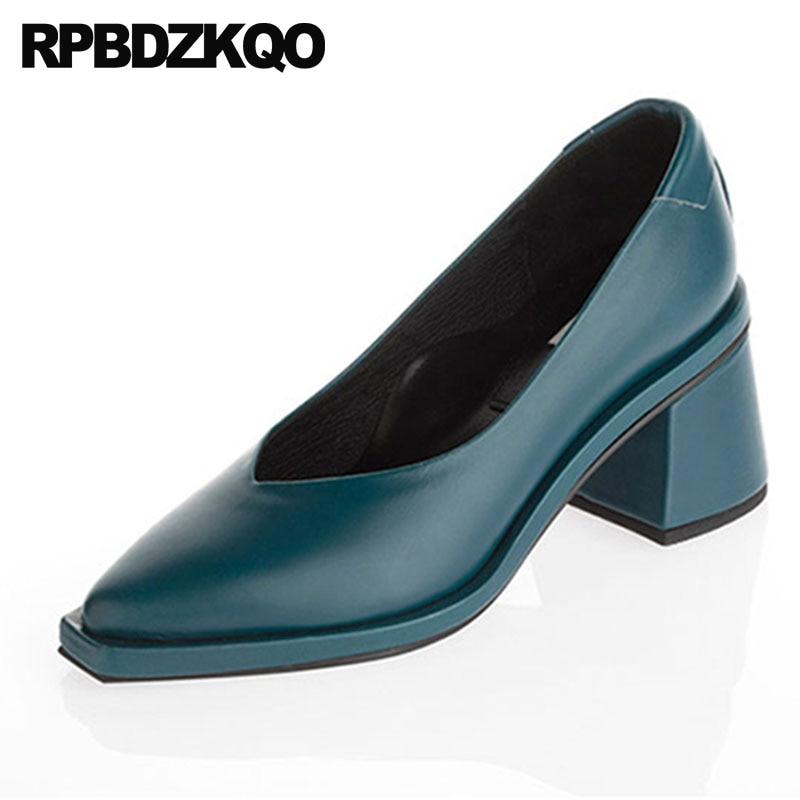 Blanco En 2018 Mujeres Deslizamiento China Zapatos Melocotón 34 Europeo Azul Negro Pie Tamaño 4 Tacones Dedo azul Pista Del Elegante peach caqui Grueso Medio blanco Diseñador De 00qX7
