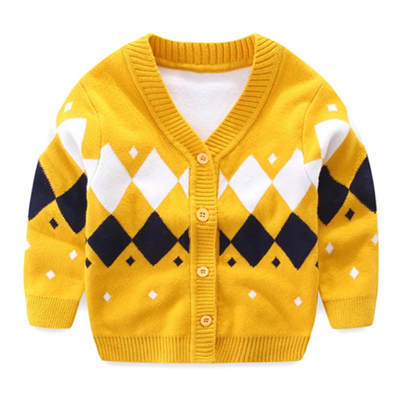 Plaid Baby Boys Sweaters Long Sleeve Newborn Sweaters Knitted Cotton Baby Cardigan Sweater 2017 Autumn Winter Baby Boys Clothing