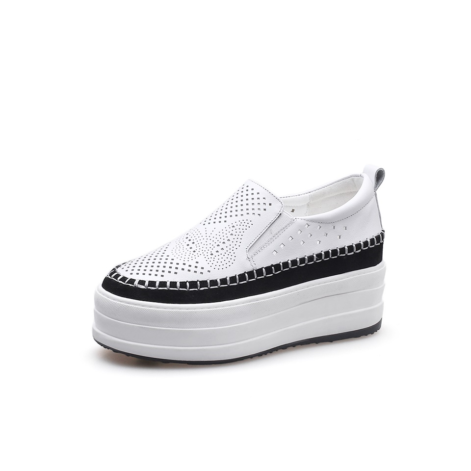 Spring Autumn Genuine Leather Sneakers Women White Shoes Fashion Lace-up Platform Shoes women smile circle spring autumn women shoes casual sneakers for women fashion lace up flat platform shoes thick bottom sneakers